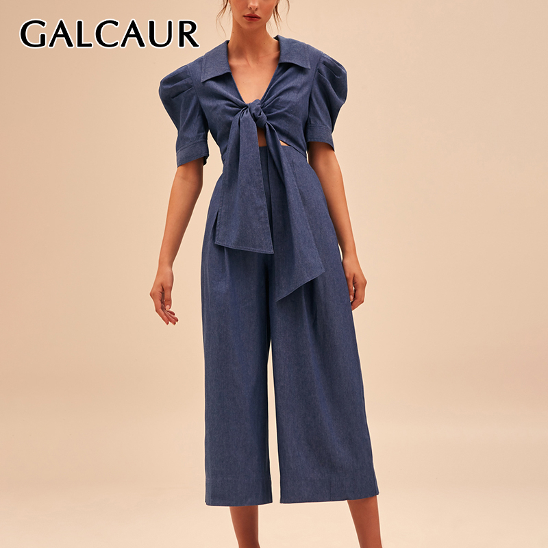 GALCAUR Korean Lace Up Jumpsuit Women Lapel Collar Puff Short Sleeve High Waist Wide Leg Jumpsuits Female 2020 Spring Clothes