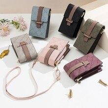2020 сумки для женщин с защелкой с клеточным принтом кожаные плечевые ремни сумка Мобильный телефон большой с отделением для карт, чехол для т...