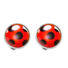 Fashion Ear Clip Ladybug Earrings Cosplay Ladybug Circle and Ladies Ladies Polka Dot Earrings Girls Party Gifts Anime Jewelry