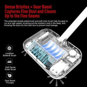 Image 2 - الأرضيات الصلبة 360 الكهربائية مكنسة لاسلكية قابلة للشحن مع فرش الدورية ، مكنسة تنظيف الغبار مرنة مع 30 قطعة الجافة