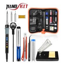 Handskit soldador eléctrico Digital de kit de pistola para soldar, 80W, con interruptor de encendido apagado, cuchillo, bomba de desoldar, herramientas de soldador