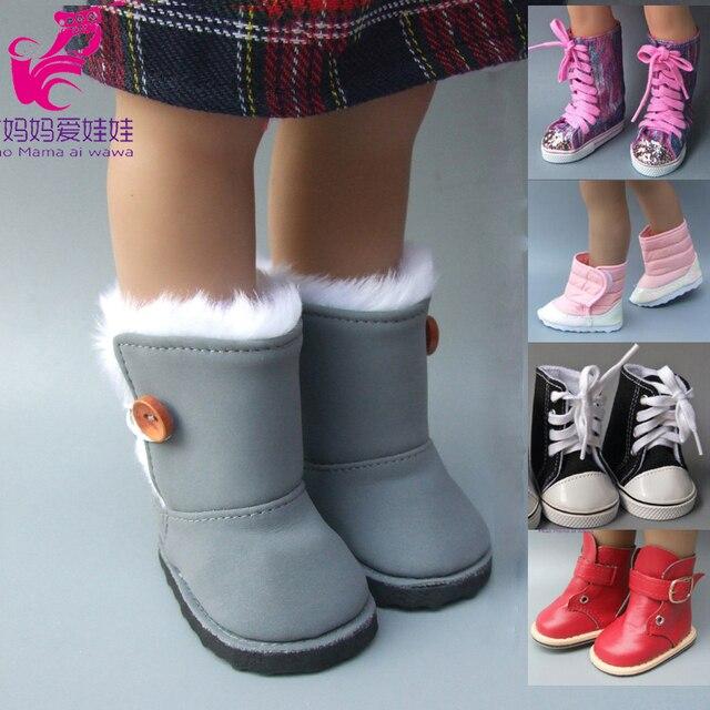 Ajustement pour 18 pouces filles poupées bottes de neige chaussures pour poupée accessoires bébé poupée hiver chaussures de noël