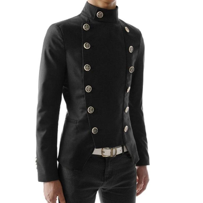 Men Double Breasted Casual Blazer Black White Red Slim Fit Suit Jacket Nightclub DJ Singer Punk Stage Costume Wedding Blazer