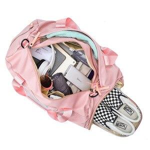 Image 5 - 最新のデザインスパンコールピンク手紙フィットネスバッグドライとウェット分離スポーツバッグショルダーメッセンジャーバッグカップルハンドバッグ旅行