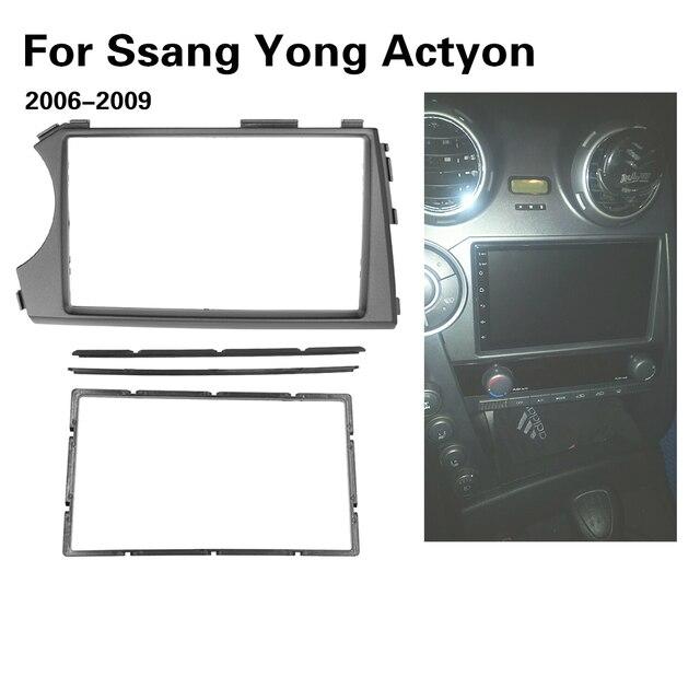 2DIN Radio Fascia for SSANG YONG Actyon LHD Left Hand Drive Facia Dash CD Trim Installation mount Kit facia frame panel