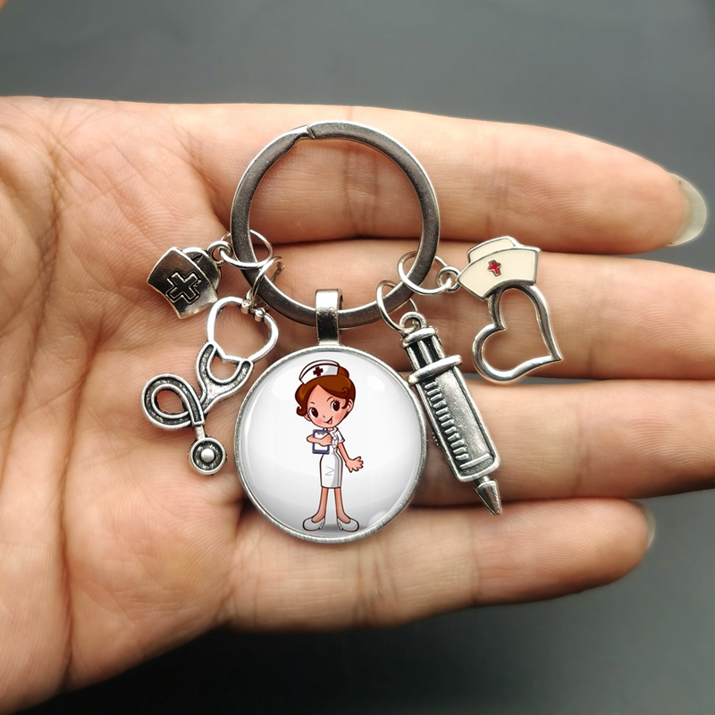 New/high quality 1 piece nurse medical syringe stethoscope image keychain glass cabochon and glass dome key ring pendant gift.