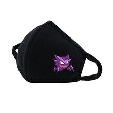 Anime Pikachu Mouth Face Mask DustpRespirator Fashion Black Face mask Muffle Cute Printed Unisex Cotton Half Face Mouth Mask