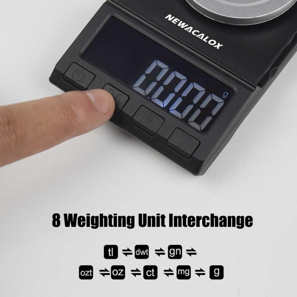 ميزان رقمي صغير للجيب من NEWACALOX 50g/100g * 0.001g للذهب والفضة والمجوهرات التوازن USB ميزان إلكتروني عالي الدقة