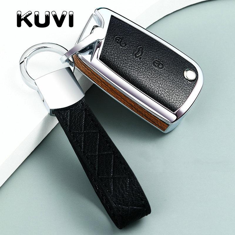 Wood carbon filber Car Key Cover Case For VW Polo Golf 7 Tiguan for Skoda Octavia Kodiaq Karoq for SEAT Ateca Leon Ibiza
