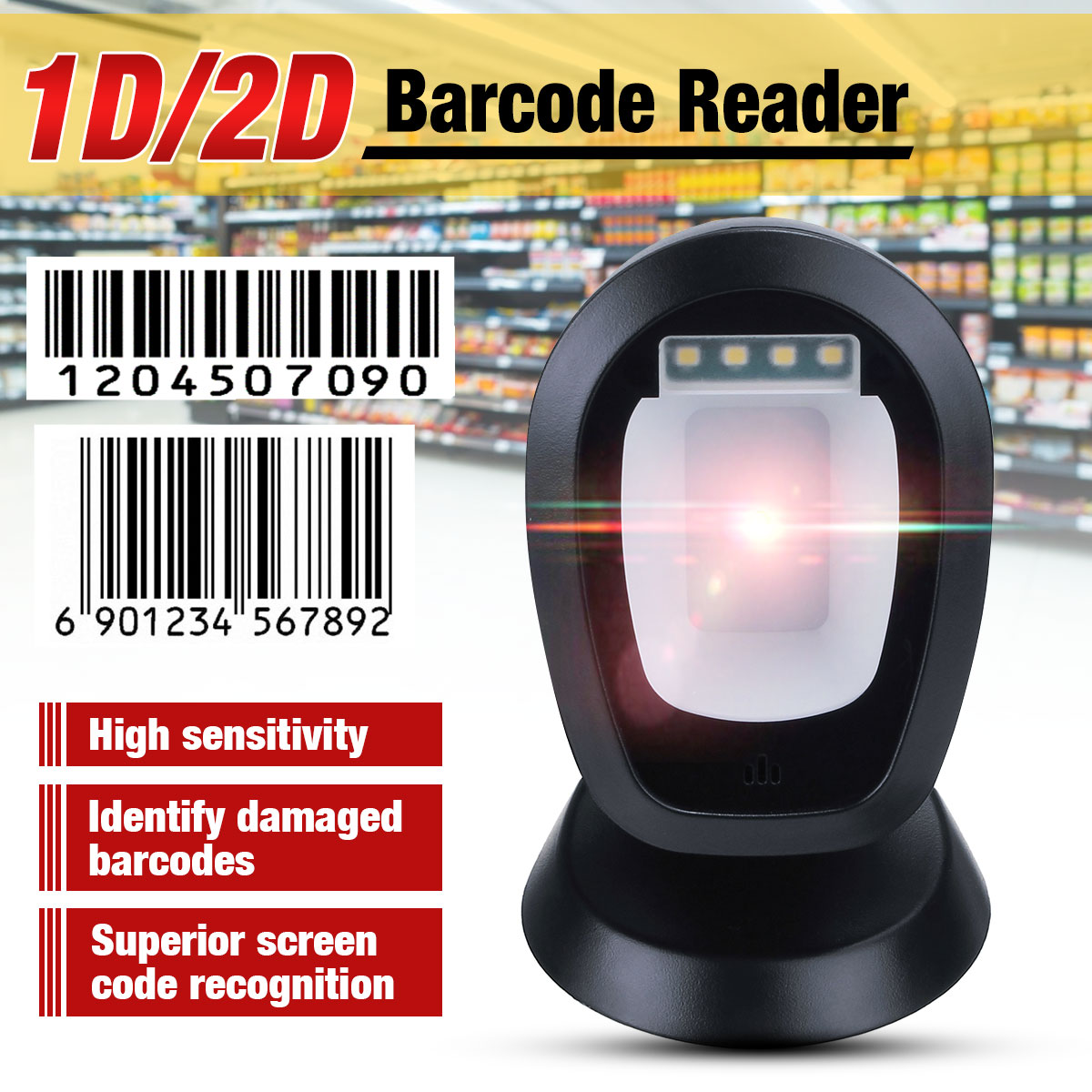 USB Automatic Barcode Scanner Handsfree 1D 2D Barcode Scanner 360 Degrees Rorating Scanning Platform With USB Interface