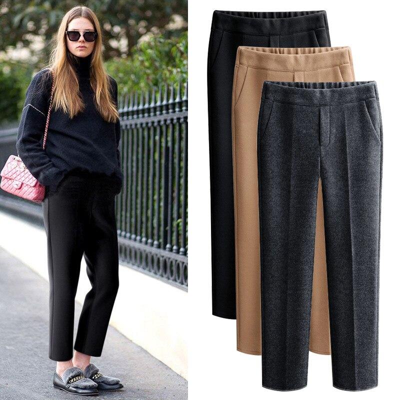 Plus Size 5XL Pantalones 2018 Autumn Winter Korean Fashion Woman Wool Trousers Harem Pants Pantalon Femmes Calca Roupas Feminina