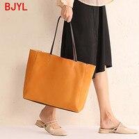 Women's Bag New 2020 Leather Hand Ladle Shoulder Bag Simple Large Capacity Handmade Female Shoudler Bag Shopping Tote Bags Soft
