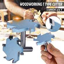 1/2 Inci 4T atau 6T Woodworking Router Bit Tungsten Carbide T TYPE Cutter Kayu Ukiran Alat alat Pisau(China)