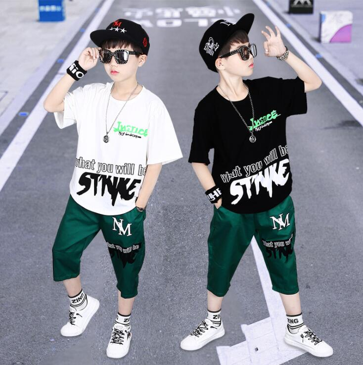 Boys Casual Clothes Kid Boy Clothing Set Summer Children Short sleeve Letters T-shirt + Pants 3 4 5 6 7 8 9 10 11 12 13 15 Years