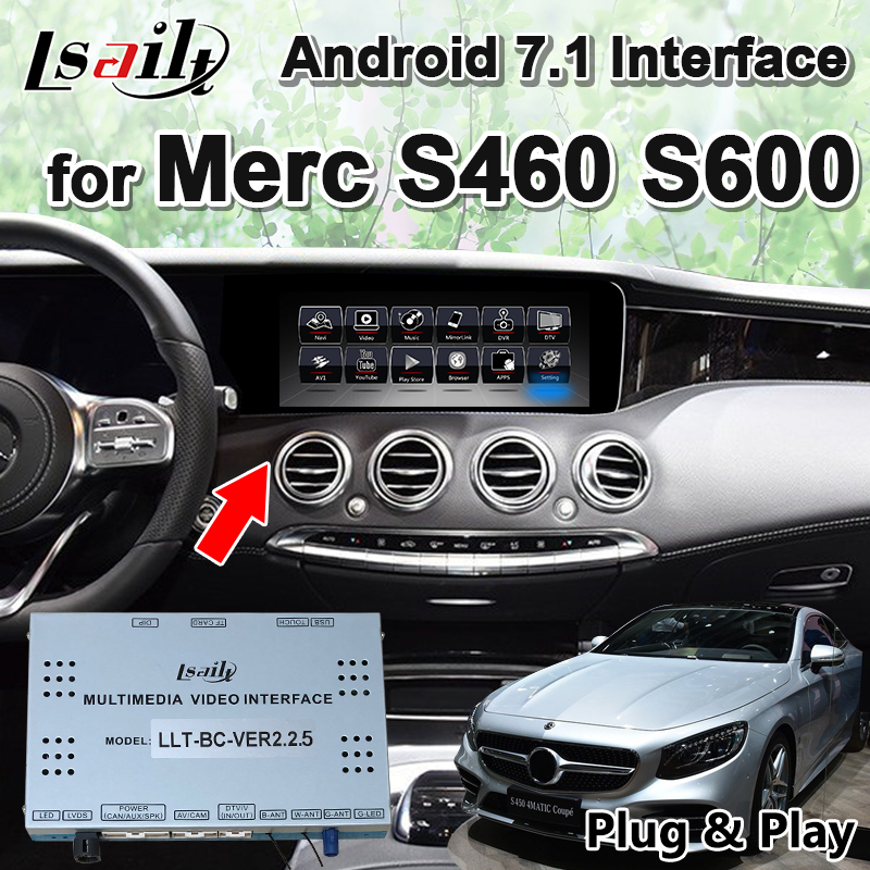 Android 7.1 <font><b>GPS</b></font> Navigation Box Multimedia Video Interface <font><b>for</b></font> <font><b>Mercedes</b></font> Benz S-class S400 <font><b>S600</b></font> 2012-17 year by Lsailt image