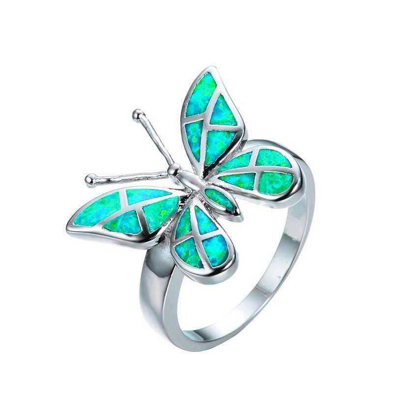 3 สีหญิงเลียนแบบโอปอลผีเสื้อแหวนแหวนเงินแหวน Glamour เครื่องประดับ