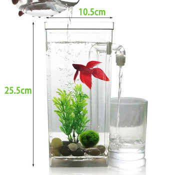 Creative Ecological Small Aquarium Square Fish Tank Lazy Desktop Goldfish Bowl Automatic Water Change