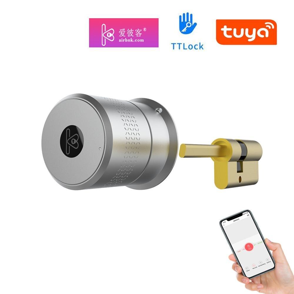 Smart Bluetooth Remote Control EU Cylinder Lock Fingerprint Keypad Airbnk TTLock Tuya APP Optional