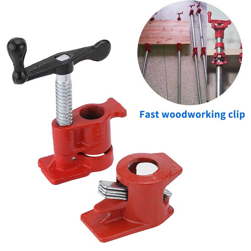 3/4inch Heavy Duty Pipe Clamp Woodworking Wood Gluing Pipe Clamp 3/4 inch Pipe Clamp Fixture Carpenter Woodworking Tools