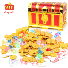 Treasure Chest Box Gold Coins and Pirate Gems Colored Jewelry Diamond Playset Party Favor for Kids Birthday Supplies Decorations