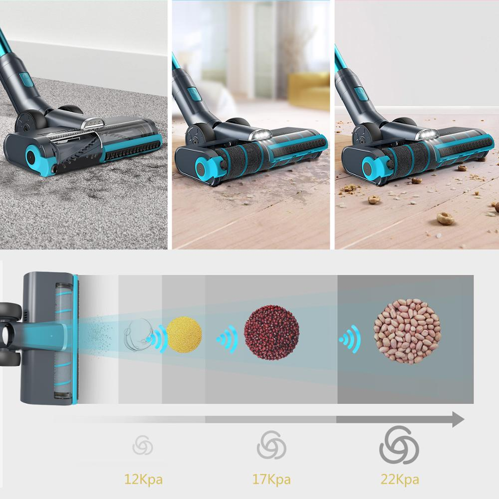 Купить с кэшбэком Cordless Vacuum Cleaner, 350W Power Strong Suction 2 LED Powered Brushes Cordless Stick Vacuum, Dual Charging Wall Mount