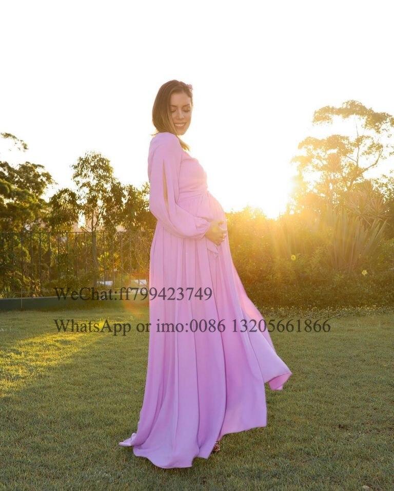 2021 One Shoulder Long Sleeve Evening Dresses Long A-line With Split Pregnant Woman Prom Dress Lilac Chiffon вечерние платья