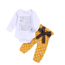 Toddlers Spring Autumn Clothing Cotton Newborn Baby Outfit Fashion Yellow Dot Kids clothing Sets 3pcs Headband