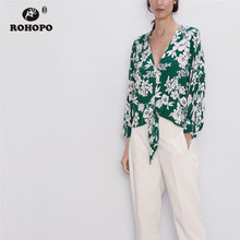 ROHOPO White Floral Long Sleeve Tie Hem Pullover Green Blouse #8990