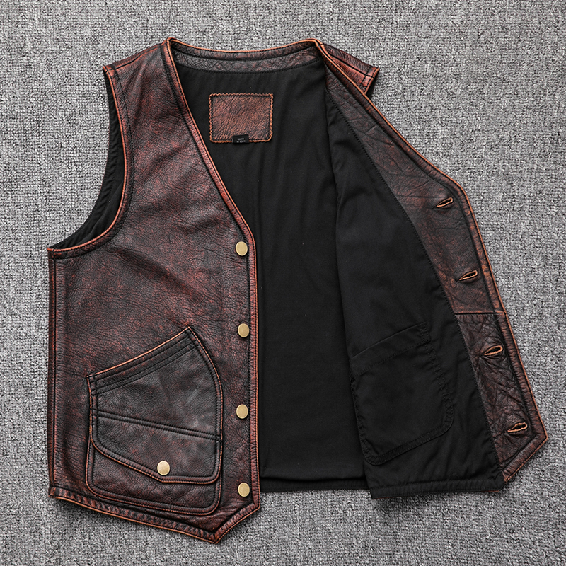 Genuine Leather Vest Men Vintage Real Cowhide Leather Jacket Men Short Waistcoat Leather Vests Biker Gilet Homme KJ2715