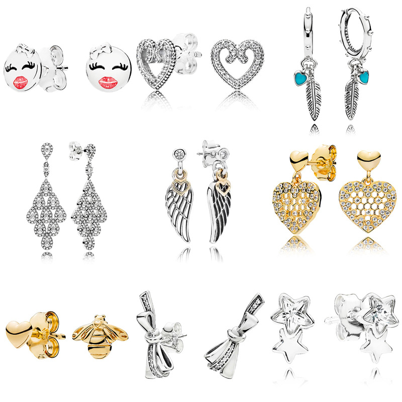 New Classic Pandoral 1:1 S925 Sterling Silver Heart Love Earrings Crystal Wings Of The Angel Dangle Stud Earrings For Women Gift