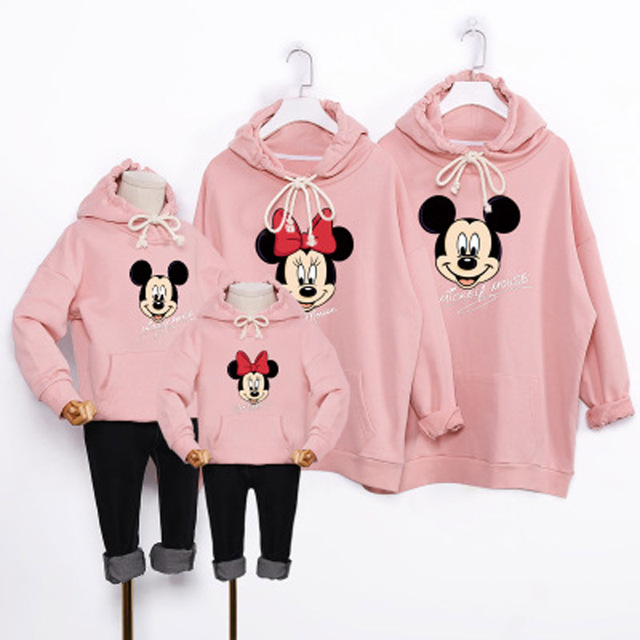 Family Look Autumn Clothes Mickey Mouse Mother Daughter Son Outfit Dresses Matching Family Outfits Mum Cartoon Hoodies Yellow Family Matching Outfits Kid (3+ years) Shop by Age