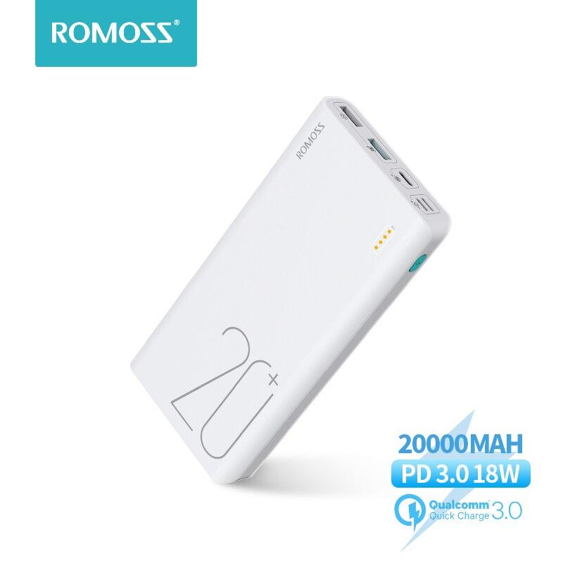 20000 мАч ROMOSS Sense 6 + Power Bank с PD3.0 двухсторонняя Быстрая зарядка Внешняя батарея портативная зарядка для телефонов планшетов