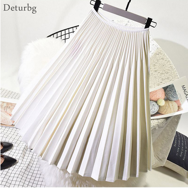 Women Elegant Pleated Skirt Elastic High Waist White Midi Skirt Ladies High Quality Skirts Black Saias 2019 Autumn Winter SK398