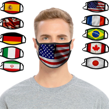 10 Styles Reusable Printed Flag Anti Dust Face Mask Unisex Ice Silk Fabric Protective PM2.5 Breathable Anti Sickness Mouth Masks