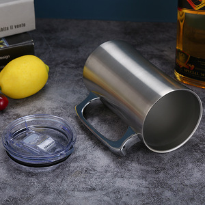 Image 2 - Mug isolant en acier inoxydable avec couvercle, grand Mug 20oz, chope isotherme, à Double paroi, gobelet avec poignée, chope à bière