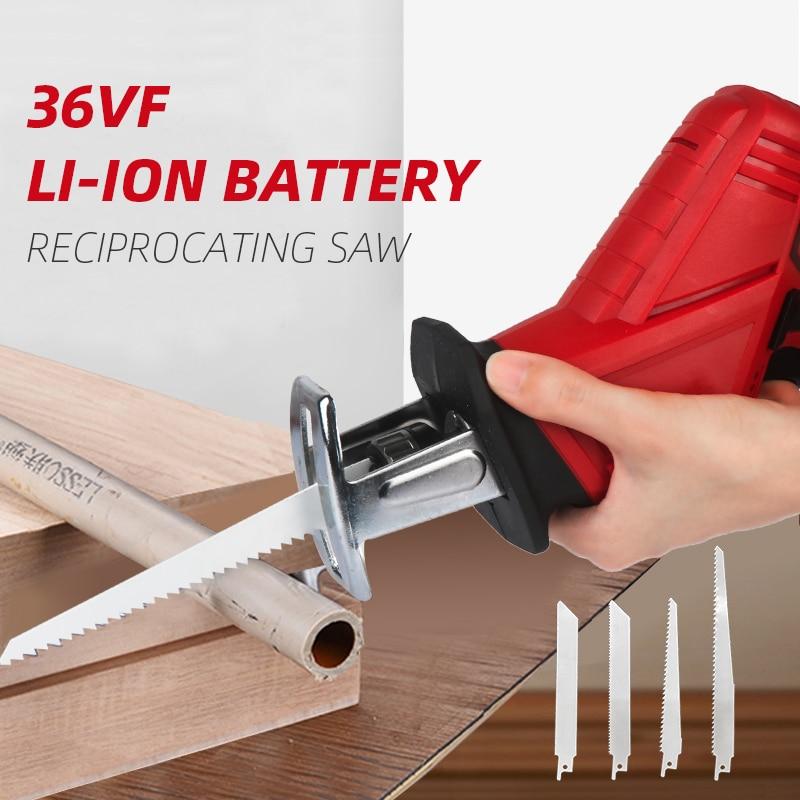Li-Ion Battery Cordless Reciprocating Saw Electric Saber Saw Blade Wood Metal Chain Saws Cut Power Tool Portable 36VF 4500mAh