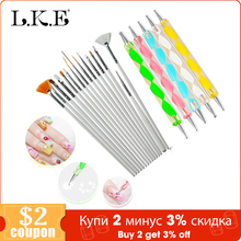 LKE 20 pcs/set Nail Art Design Set Dotting Pen Drawing Nail Varnish Gel Polish Brush for Manicure Nail Art Tools Nails Art Brush