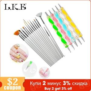 Image 1 - LKE 20 pcs/set Nail Art Design Set Dotting Pen Drawing Nail Varnish Gel Polish Brush for Manicure Nail Art Tools Nails Art Brush