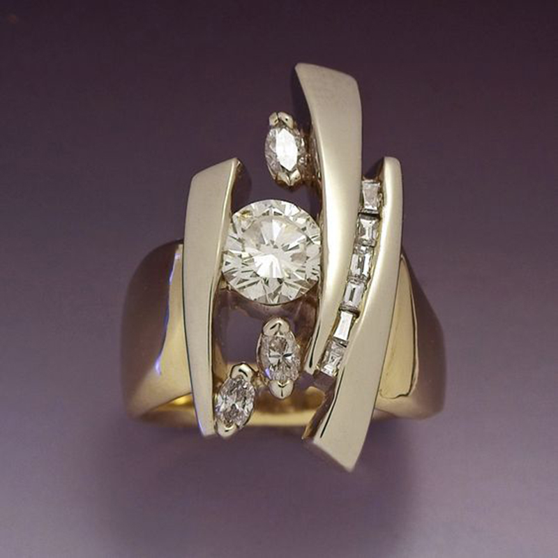Female Luxury Zircon Stone Geometry Rings Pop Engagement Ring For Women Party Gift Irregular Rhinestone Filled Ring