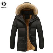 RUELK 2020 jesienno-zimowa młodzieżowa rozrywka średniej długości bawełniany płaszcz męska aksamitna kurtka w rozmiarze Plus bawełniane ubrania modna męska odzież tanie tanio Poliester REGULAR Grube Coat Suknem zipper Luźne Kieszenie Stałe 1 5KG Na co dzień Z kapturem Black Khaki Blue Autumn Winter
