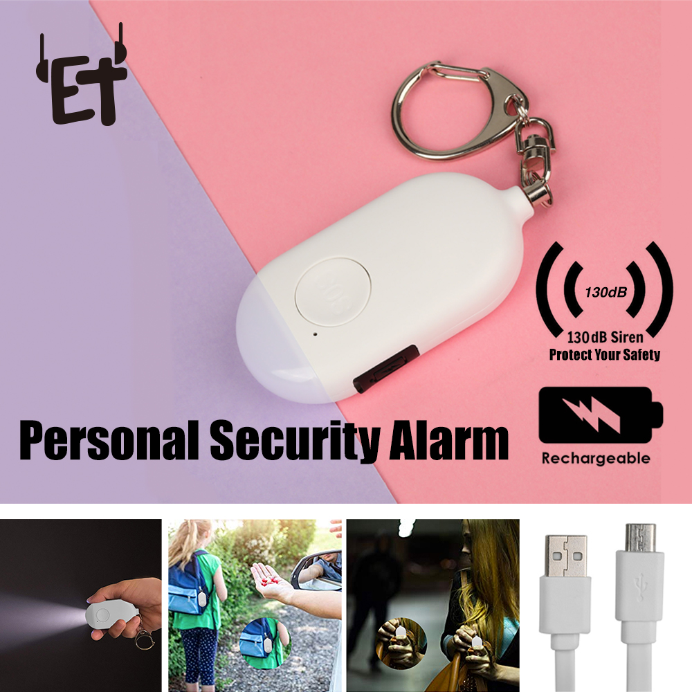ET 130dB Self Defense Alarm Rechargeable Personal Security Keychain Alarm W/ LED Flash Light Loud Personal Safety Protect Scream