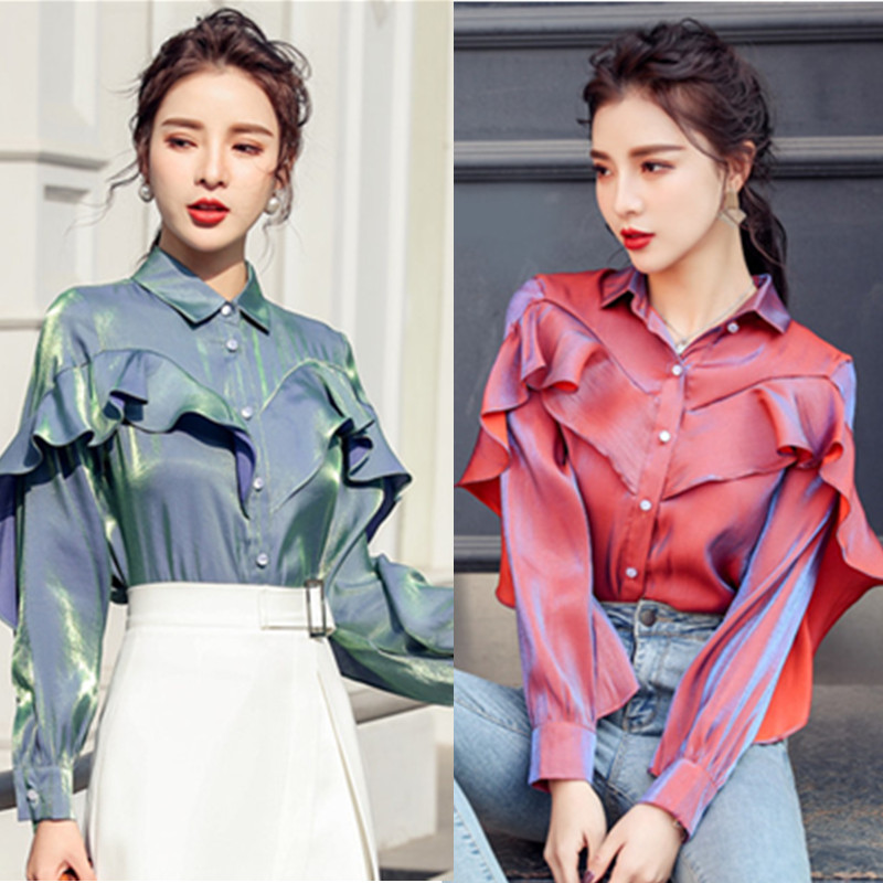 2020 New Arrival Fashion Blouse Women Long Sleeve Korean Style Elegant Ruffle High Quality Office Ladies Work Shirts Tops Blusas