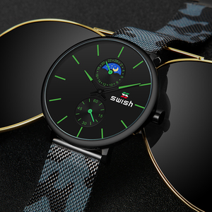 Image 2 - Montres de luxe pour hommes, montres bracelets en acier inoxydable, étanche, sport, militaire, chronographe à Quartz 2020
