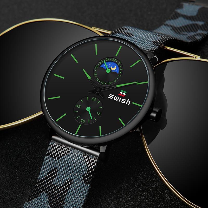 Image 2 - SWISH Fashion Watches for Men Luxury Stainless Steel Mens Wristwatches Waterproof Sports Military Quartz Chronograph Reloj 2020Quartz Watches   -