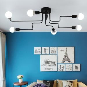 Image 4 - Multiple Rod Wrought Iron Chandelier for Living Room Vintage Lights Industrial Loft Nordic Home Lighting Fixtures