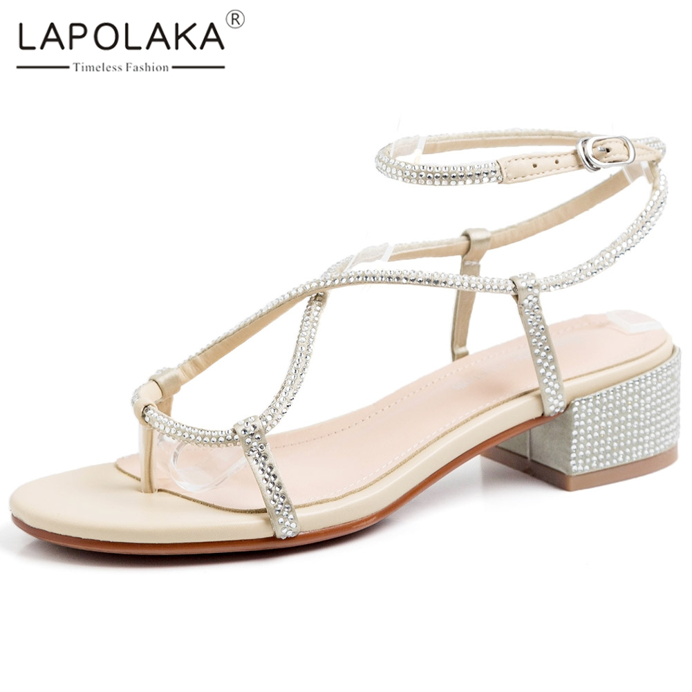 Lapolaka 2020 New Design Cotton Fabric Concise Women Sandals Strange Style Heels Crystal Pumps Summer Casual Women Sandals