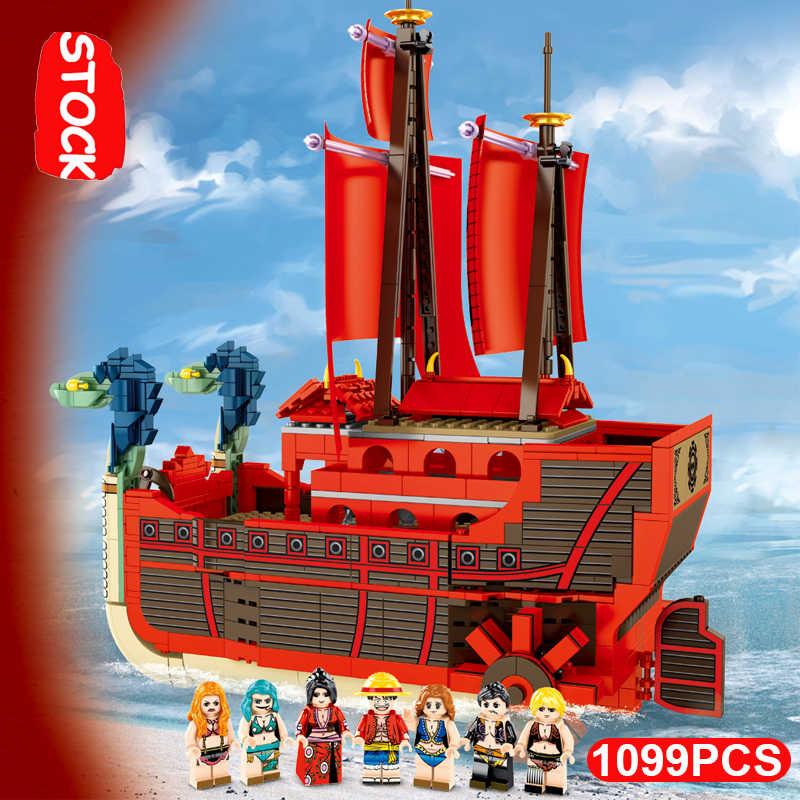 2000 sztuk Thousand Sunny 3D2Y statek pirat Luffy Lepining jeden kawałki Technic pomysł Creator klocki Playmobil Lepinblocks zabawka