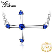 JewelryPalace 0.25ct Created Sapphire Cute Cross Necklace 925 Sterling Silver Jewelry for Women Fine Jewelry For Women 2018 New(China)