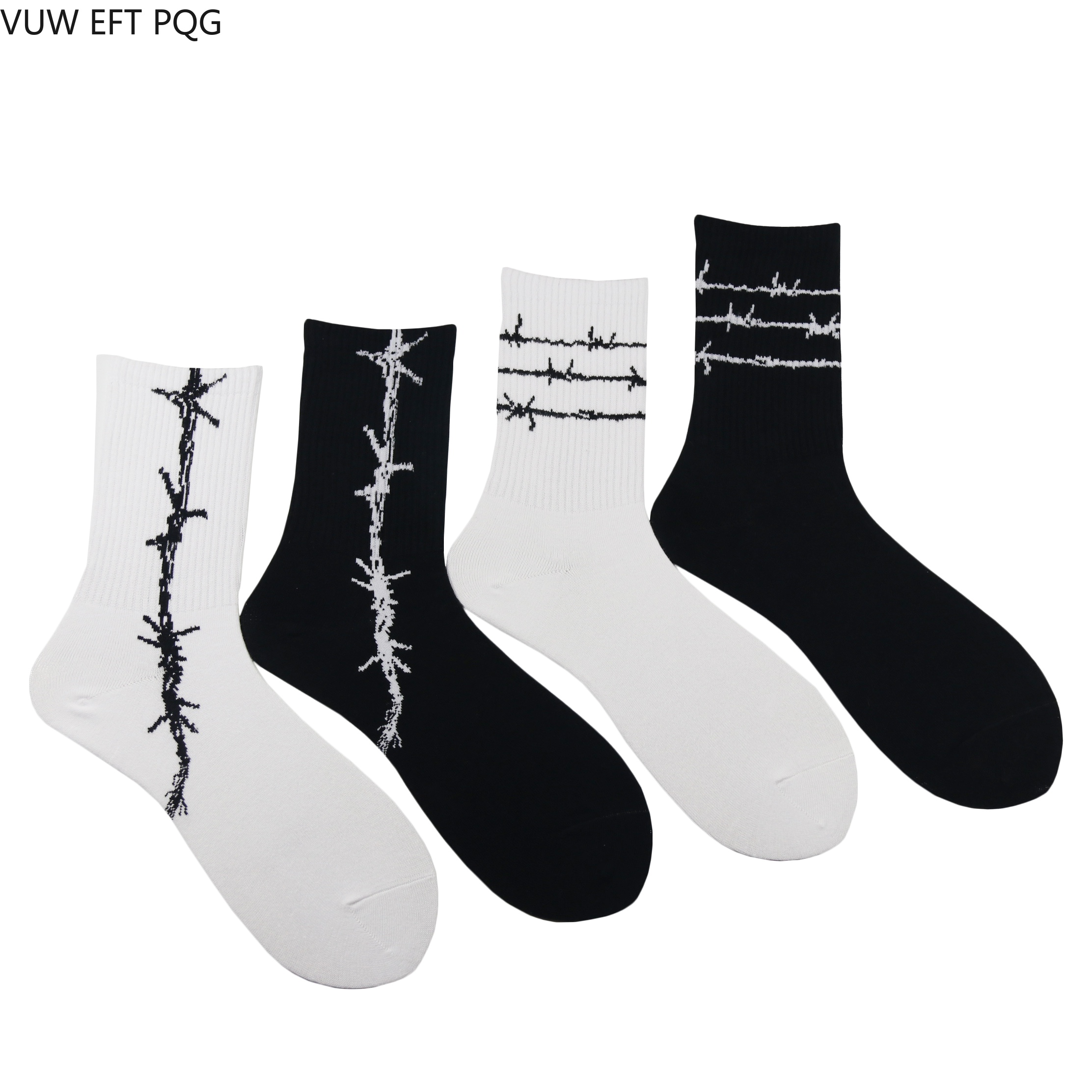 4Pcs/Lot Men And Women Socks Original Design Barbed Wire Pattern Trend Fashion Street Hip Hop Style Cool Unique Socks