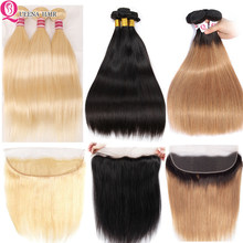Queena Straight Bundles With Frontal 613 Bundles With Frontal Blonde Human Hair Brazilian 3 Bundles With Lace Closure Remy(China)